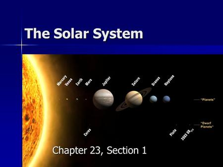 The Solar System Chapter 23, Section 1.