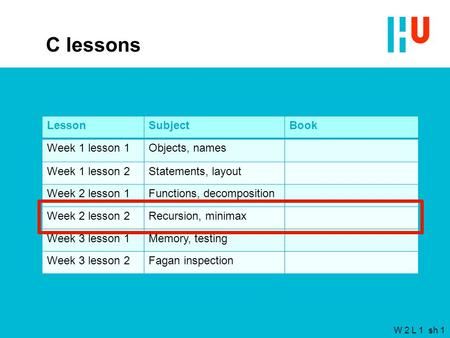 W 2 L 1 sh 1 C lessons LessonSubjectBook Week 1 lesson 1Objects, names Week 1 lesson 2Statements, layout Week 2 lesson 1Functions, decomposition Week 2.