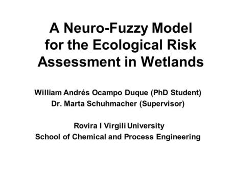 A Neuro-Fuzzy Model for the Ecological Risk Assessment in Wetlands William Andrés Ocampo Duque (PhD Student) Dr. Marta Schuhmacher (Supervisor) Rovira.