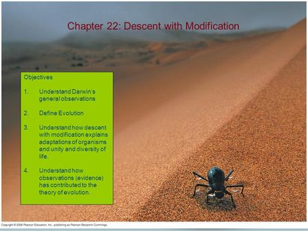Chapter 22: Descent with Modification Objectives 1.Understand Darwin's general observations 2.Define Evolution 3.Understand how descent with modification.
