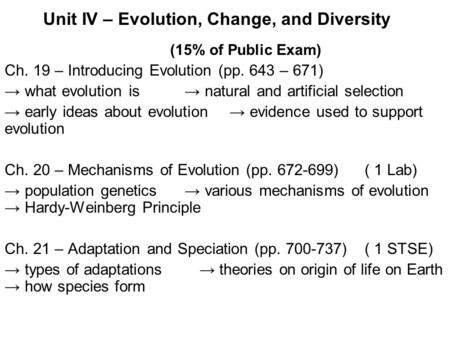 Unit IV – Evolution, Change, and Diversity (15% of Public Exam) Ch. 19 – Introducing Evolution (pp. 643 – 671) → what evolution is→ natural and artificial.