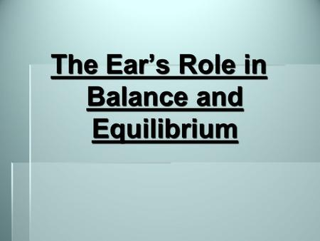 The Ear's Role in Balance and Equilibrium