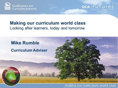 Making our curriculum world class Looking after learners, today and tomorrow Mike Rumble Curriculum Adviser.