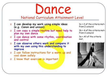 3 Dance  I can develop my work using simple ideas (e.g. Canon and unison).  I can copy a simple routine but need help to plan my own dance  I can dance.