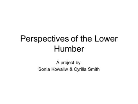 Perspectives of the Lower Humber A project by: Sonia Kowaliw & Cyrilla Smith.