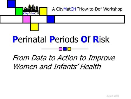 "August 2003 Perinatal Periods Of Risk From Data to Action to Improve Women and Infants' Health A CityMatCH ""How-to-Do"" Workshop."