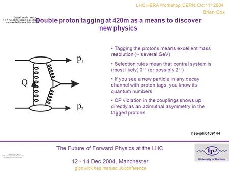 Double proton tagging at 420m as a means to discover new physics Brian Cox The Future of Forward Physics at the LHC 12 - 14 Dec 2004, Manchester glodwick.hep.man.ac.uk/conference.