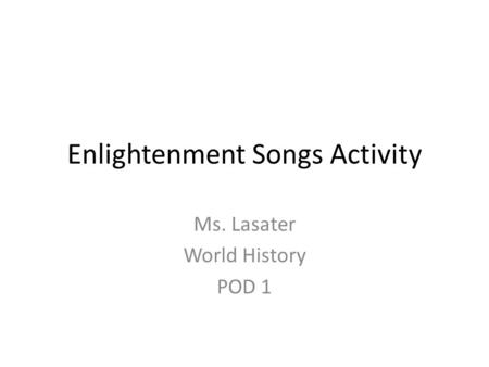 Enlightenment Songs Activity