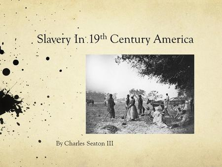 Slavery In 19 th Century America By Charles Seaton III.