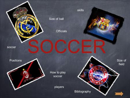 SOCCER soccer How to play soccer players PositionsSize of field Size of ball Officials skills Bibliography.