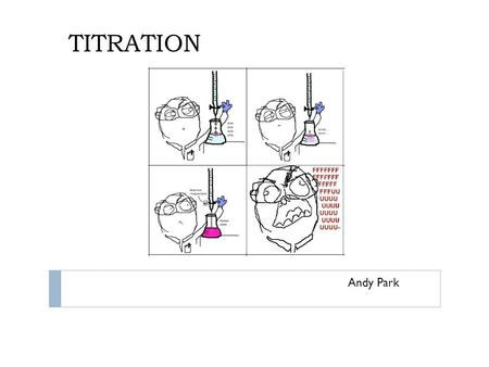 TITRATION Andy Park. What is Titration? A method of quantitative chemical analysis used to calculate concentration A known concentration and volume of.
