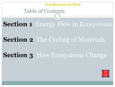 How Ecosystems Work Chapter 5 Table of Contents Section 1 Energy Flow in Ecosystems Section 2 The Cycling of Materials Section 3 How Ecosystems Change.