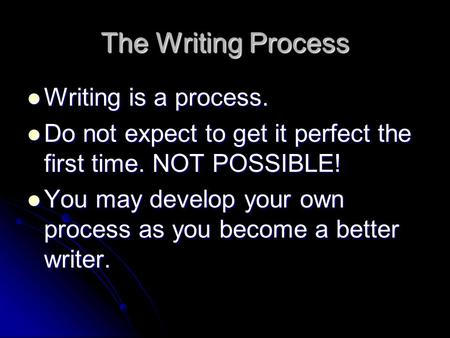 The Writing Process Writing is a process. Writing is a process. Do not expect to get it perfect the first time. NOT POSSIBLE! Do not expect to get it perfect.