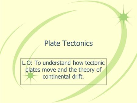 Plate Tectonics L.O: To understand how tectonic plates move and the theory of continental drift.