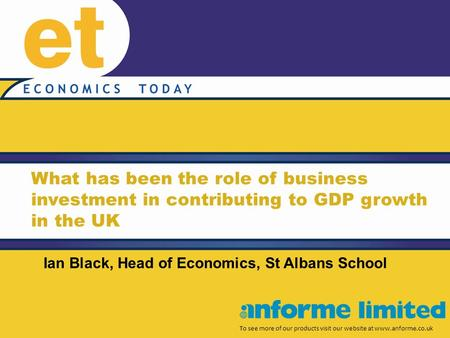 What has been the role of business investment in contributing to GDP growth in the UK To see more of our products visit our website at www.anforme.co.uk.