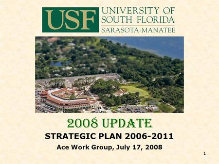 1 2008 UPDATE STRATEGIC PLAN 2006-2011 Ace Work Group, July 17, 2008.