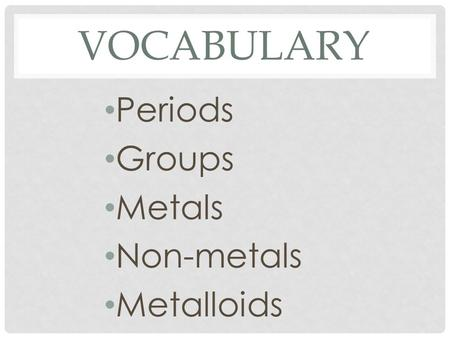 VOCABULARY Periods Groups Metals Non-metals Metalloids.