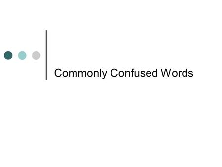 Commonly Confused Words. can, may Can expresses ability May expresses possibility or permission.