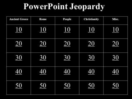 PowerPoint Jeopardy Ancient GreeceRomePeopleChristianityMisc. 10 20 30 40 50.