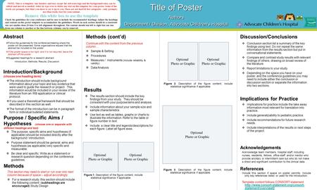 Abstract Title of Poster Authors Department / Division, Advocate Children's Hospital Title of Poster Authors Department / Division, Advocate Children's.