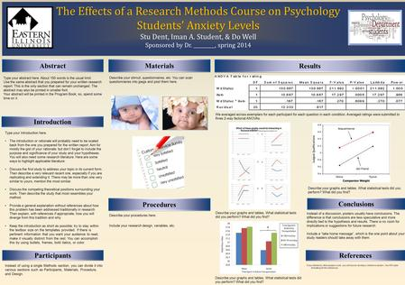 The Effects of a Research Methods Course on Psychology Students' Anxiety Levels The Effects of a Research Methods Course on Psychology Students' Anxiety.