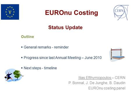 Status Update Outline  General remarks - reminder  Progress since last Annual Meeting – June 2010  Next steps - timeline EUROnu Costing Ilias Efthymiopoulos.