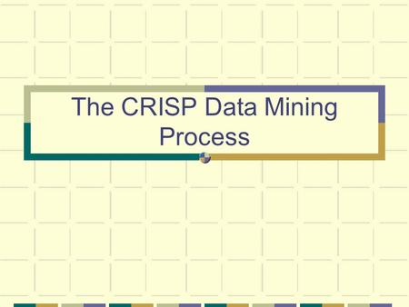 The CRISP Data Mining Process. August 28, 2004Data Mining2 The Data Mining Process Business understanding Data evaluation Data preparation Modeling Evaluation.