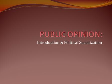 Introduction & Political Socialization. CHARACTERISTICS OF PUBLIC OPINION Public attitudes toward a given government policy can vary over time, often.