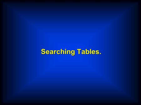 Searching Tables.. Creating Pre-filled Tables A B C D E F G H I J K L ABCDEFGHIJKLM NOPQRSTUVWXYZ 01 LetterTable. 02 TableValues. 03 FILLER PIC X(13)