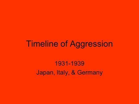 Timeline of Aggression 1931-1939 Japan, Italy, & Germany.