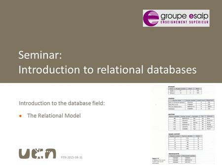 FEN 2015-08-311 Introduction to the database field:  The Relational Model Seminar: Introduction to relational databases.