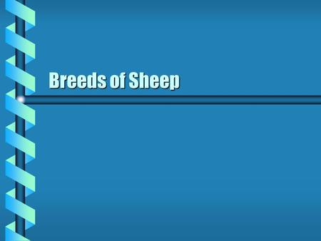 Breeds of Sheep. Classes of Sheep b Fine Wool b Medium Wool b Long Wool b Crossbred Wool b Carpet wool b Fur Sheep.