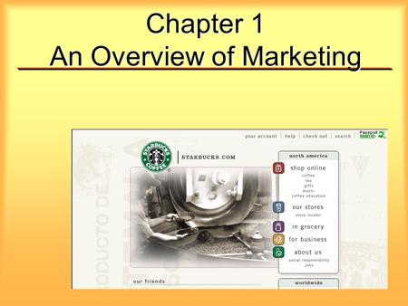 Chapter 1 An Overview of Marketing. What is Marketing? A Philosophy An Attitude A Perspective A Management Orientation A Set of Activities, including: