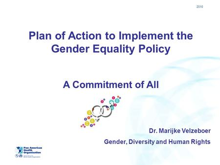 2010 Plan of Action to Implement the Gender Equality Policy A Commitment of All Dr. Marijke Velzeboer Gender, Diversity and Human Rights.