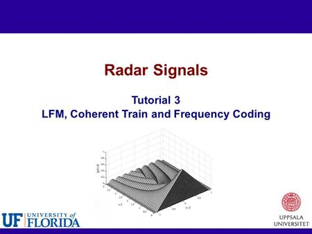 Radar Signals Tutorial 3 LFM, Coherent Train and Frequency Coding.