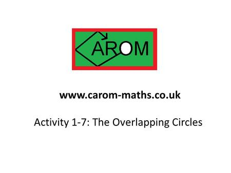 Activity 1-7: The Overlapping Circles www.carom-maths.co.uk.