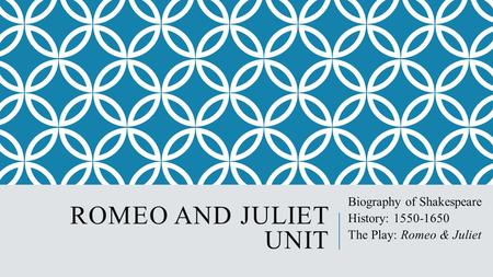 ROMEO AND JULIET UNIT Biography of Shakespeare History: 1550-1650 The Play: Romeo & Juliet.