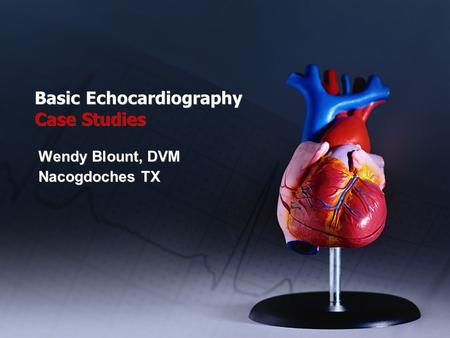 Basic Echocardiography Case Studies Wendy Blount, DVM Nacogdoches TX Wendy Blount, DVM Nacogdoches TX.