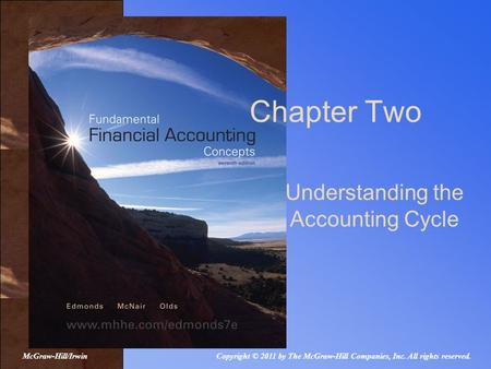 Chapter Two Understanding the Accounting Cycle Copyright © 2011 by The McGraw-Hill Companies, Inc. All rights reserved.McGraw-Hill/Irwin.