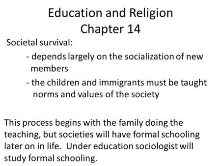 Education and Religion Chapter 14