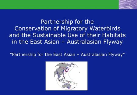 "Partnership for the Conservation of Migratory Waterbirds and the Sustainable Use of their Habitats in the East Asian – Australasian Flyway ""Partnership."