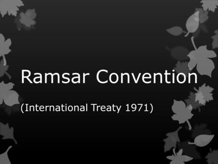 Ramsar Convention (International Treaty 1971).  The Convention on Wetlands (Ramsar, 1971) -- called the Ramsar Convention -- is an intergovernmental.