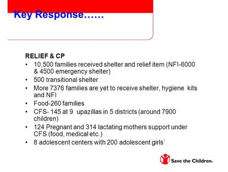 Key Response…… RELIEF & CP 10,500 families received shelter and relief item (NFI-6000 & 4500 emergency shelter) 500 transitional shelter More 7376 families.