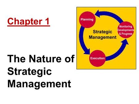 Chapter 1 The Nature of Strategic Management. Learning Objectives Explain the concept of strategic management Describe how strategic decisions differ.