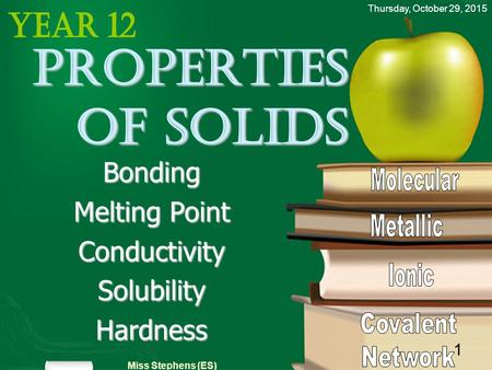 Thursday, October 29, 2015 Miss Stephens (ES) 1 Properties of solids Bonding Melting Point ConductivitySolubilityHardness.