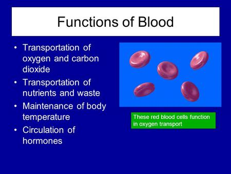 Functions of Blood Transportation of oxygen and carbon dioxide Transportation of nutrients and waste Maintenance of body temperature Circulation of hormones.