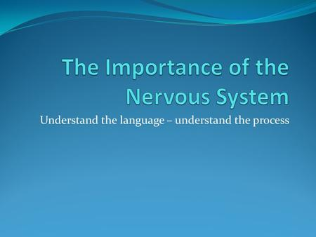 Understand the language – understand the process.