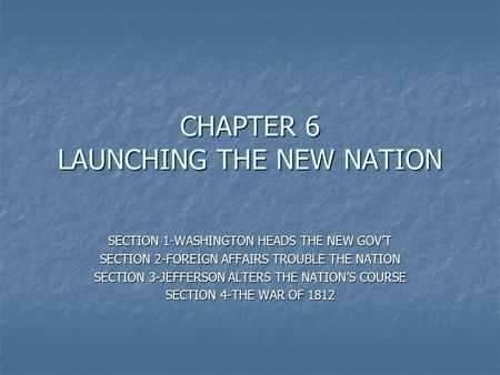 CHAPTER 6 LAUNCHING THE NEW NATION SECTION 1-WASHINGTON HEADS THE NEW GOV'T SECTION 2-FOREIGN AFFAIRS TROUBLE THE NATION SECTION 3-JEFFERSON ALTERS THE.