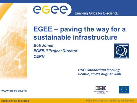 EGEE-II INFSO-RI-031688 Enabling Grids for E-sciencE www.eu-egee.org EGEE and gLite are registered trademarks EGEE – paving the way for a sustainable infrastructure.