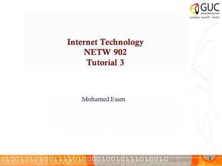 1 Internet Technology NETW 902 Tutorial 3 Mohamed Esam.